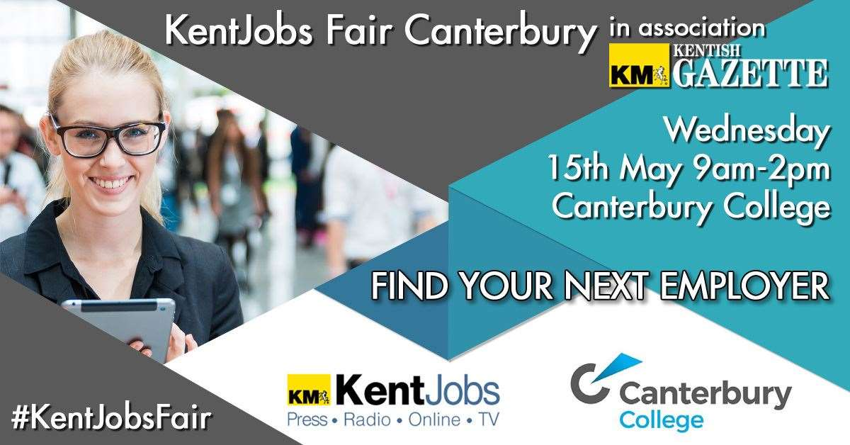 KentJobs Fair Canterbury will take place on Wednesday, May 15 at Canterbury College between 9am and 2pm and is a brilliant way for job seekers to meet multiple representatives on the same day.