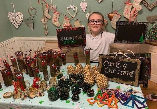 Tilly Duffy, 9, has raised money in the past for charity by making Christmas decorations