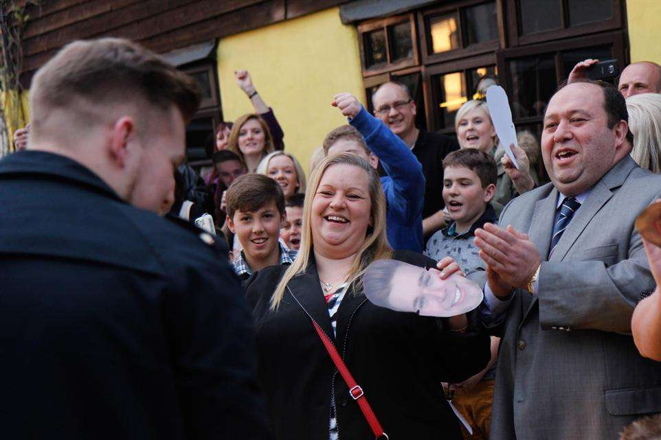 Jamie is greeted with cheers as he arrived at The Barge pub