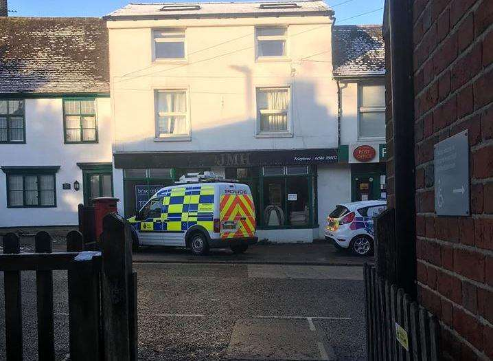 Police in Staplehurst High Street after a safe was stolen from a post office. Picture: David Gall (6874325)