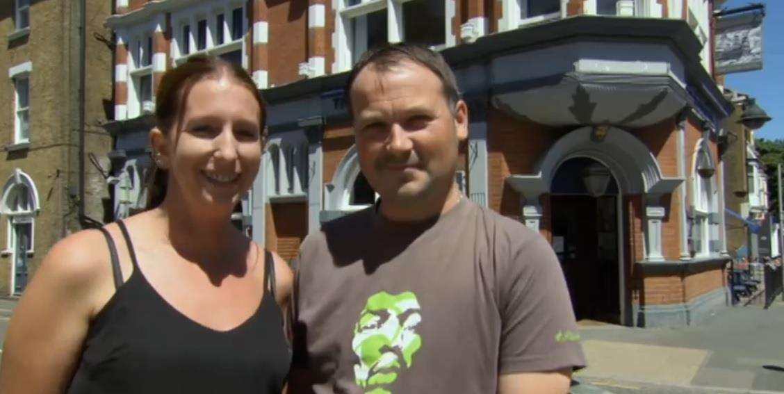Gareth Segrove and Sarah Lewry from the Royal Hotel, Sheerness, in C4's Four In A Bed TV show. Picture: C4