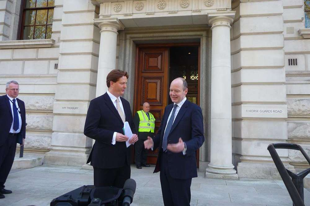 Maidstone parliamentary campaigner for the Lib Dems, Jasper Gerard, with Danny Alexander