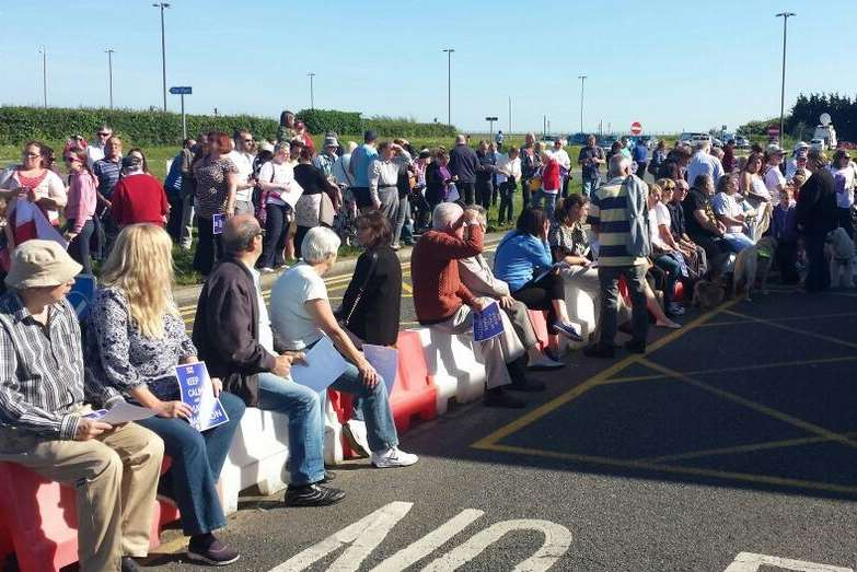 Scores of people gather outside Manston airport as staff prepared to leave for the final time
