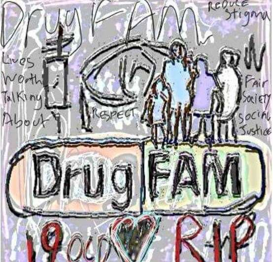 Claude Barry's poster for the DrugFAM charity