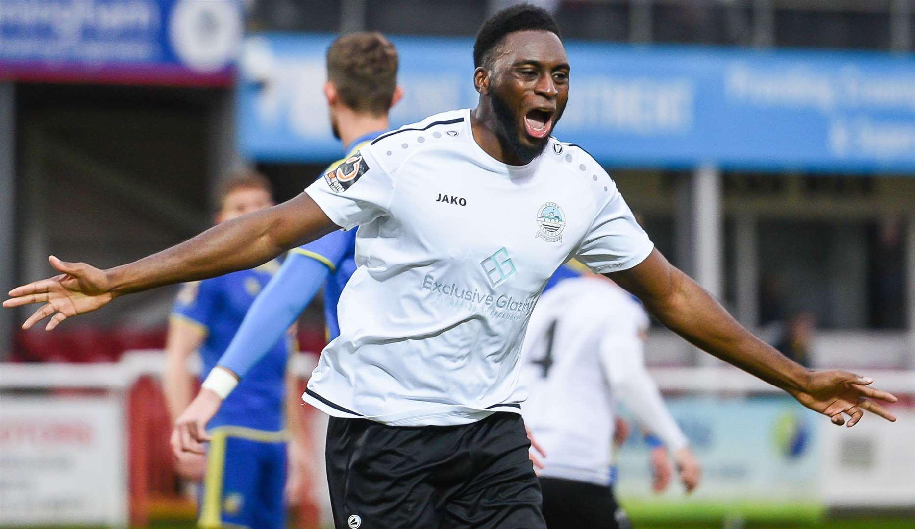 Inih Effiong scored both of Dover's goals in their 2-0 victory at Stockport County on Saturday. Picture: Alan Langley