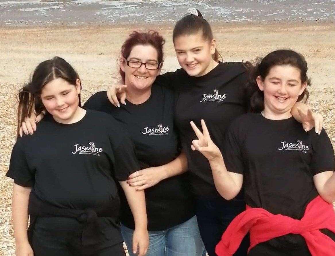 Jasmine with her mum and sisters at Littlestone. L-R: Natasha, mum Emma, Jasmine and Kimberley