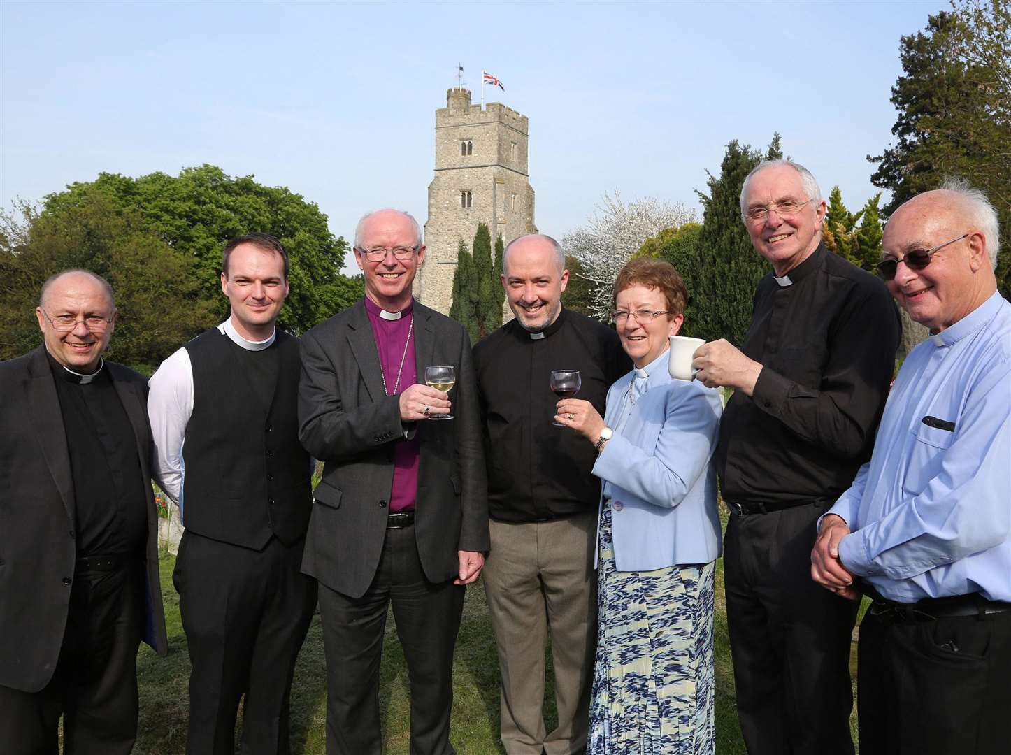 From left, Rev Jonathan Jennings, assistant priest, Rev James Harratt, curate, Bishop of a Rochester, The Rt Rev James Langstaff, Rev Nathan Ward, Rev Judy Henning, Canon Alan Vousden, Canon Michael O'Connor