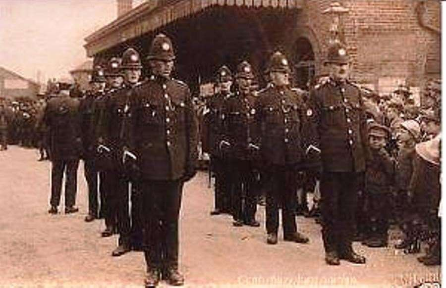 Officers lined up in parade formation outside Canterbury East Railway Station. Picture: Kent Police Museum