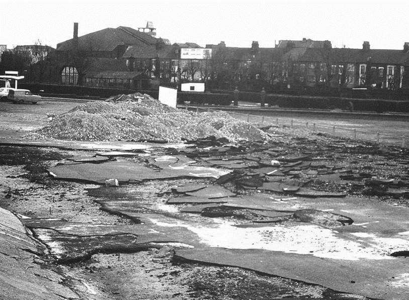 Giants slabs of Tarmac were uplifted when the sea flooded Sheerness on January 12 1978. Picture: Trevor Edwards