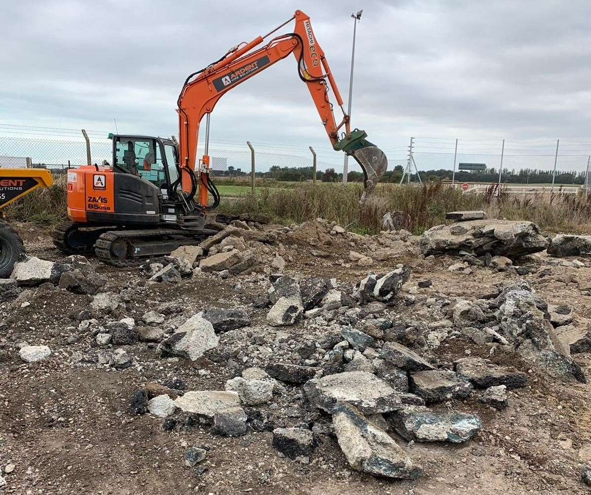 Work has included moving 300 tonnes of rubble at the airport