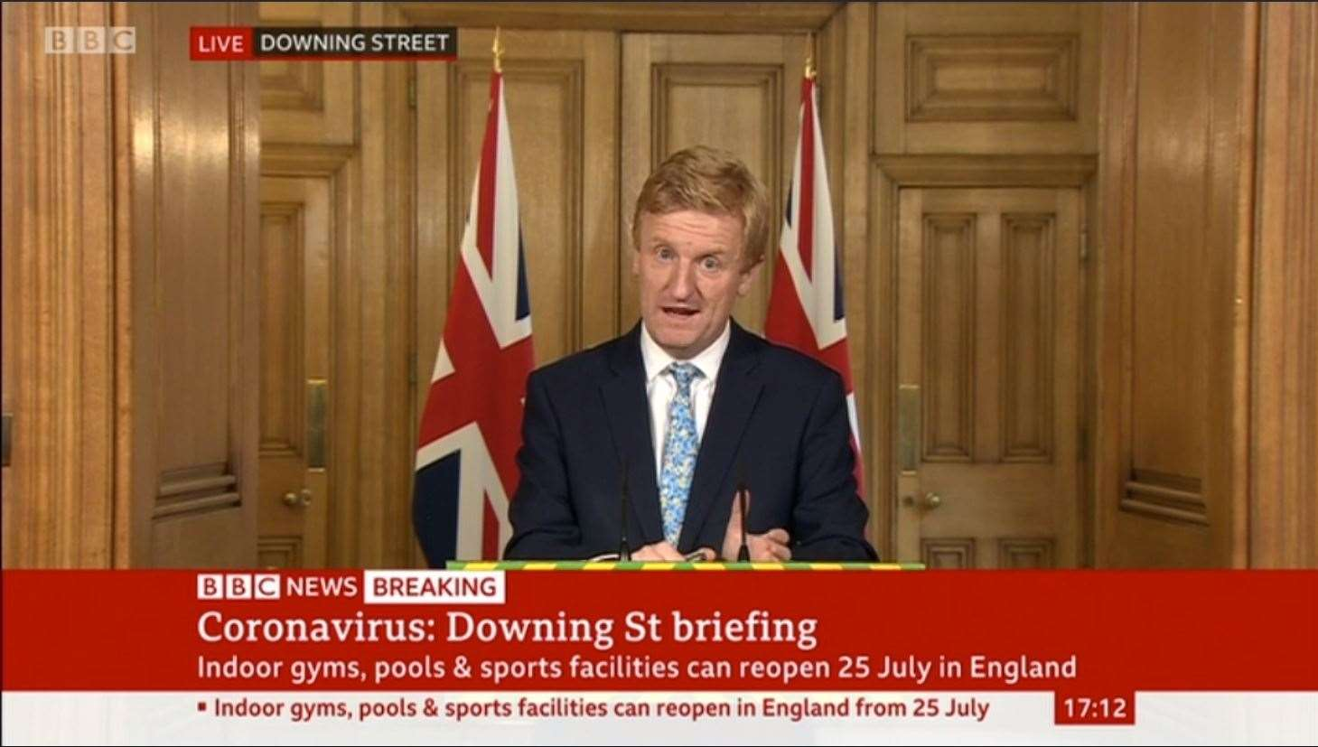 Oliver Dowden, the secretary of state for culture, media and sport, taking a government press conference