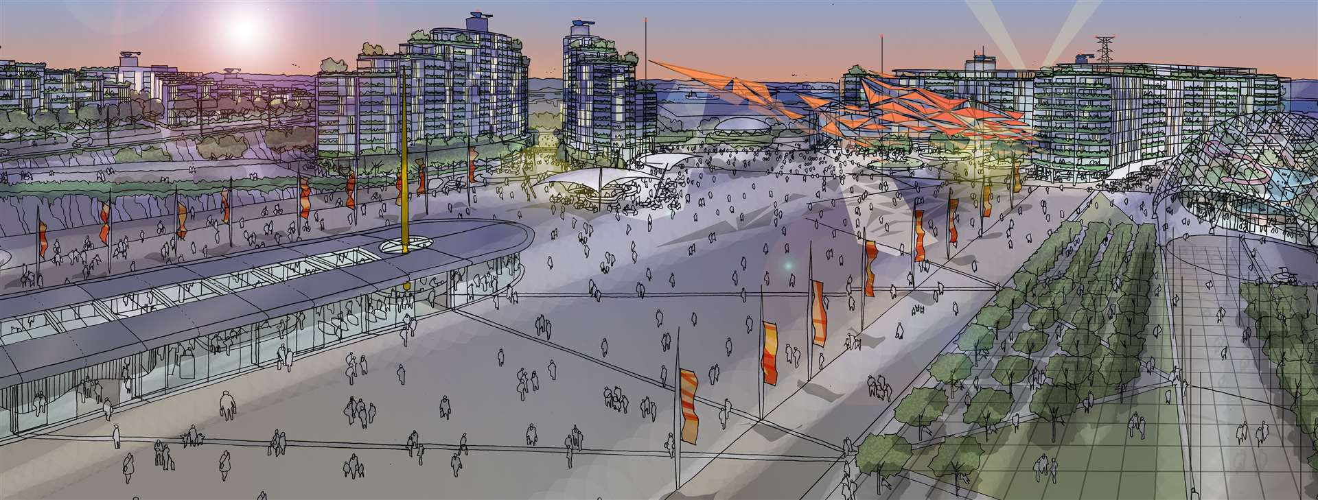 Artist impression of how the Arrival Plaza, hotels and market. Picture: The London Resort