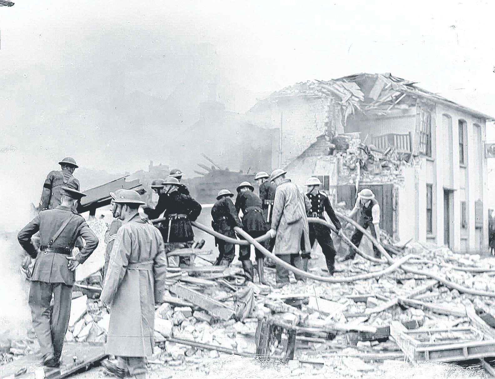 Maidstone suffered its share of wartime bombing: this one fell on Albion Place on October 10, 1940