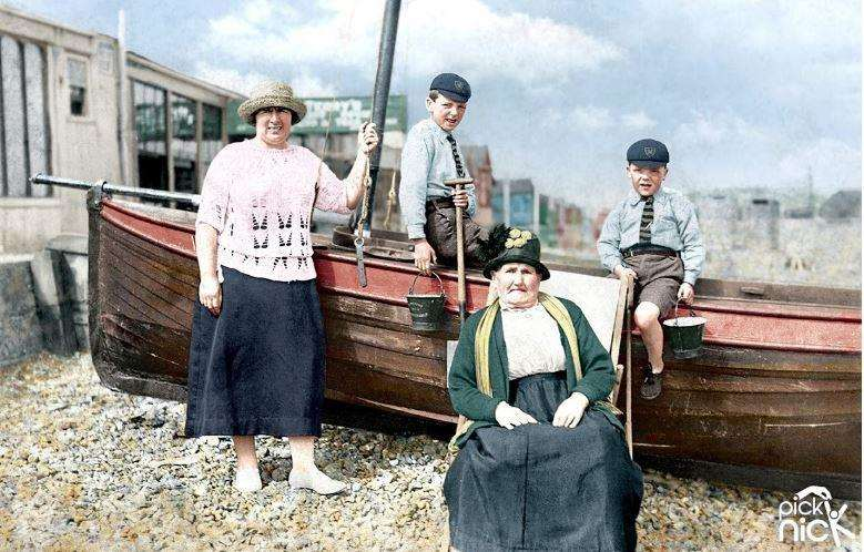 The colourised image of a family outing to Whitstable, circa 1925