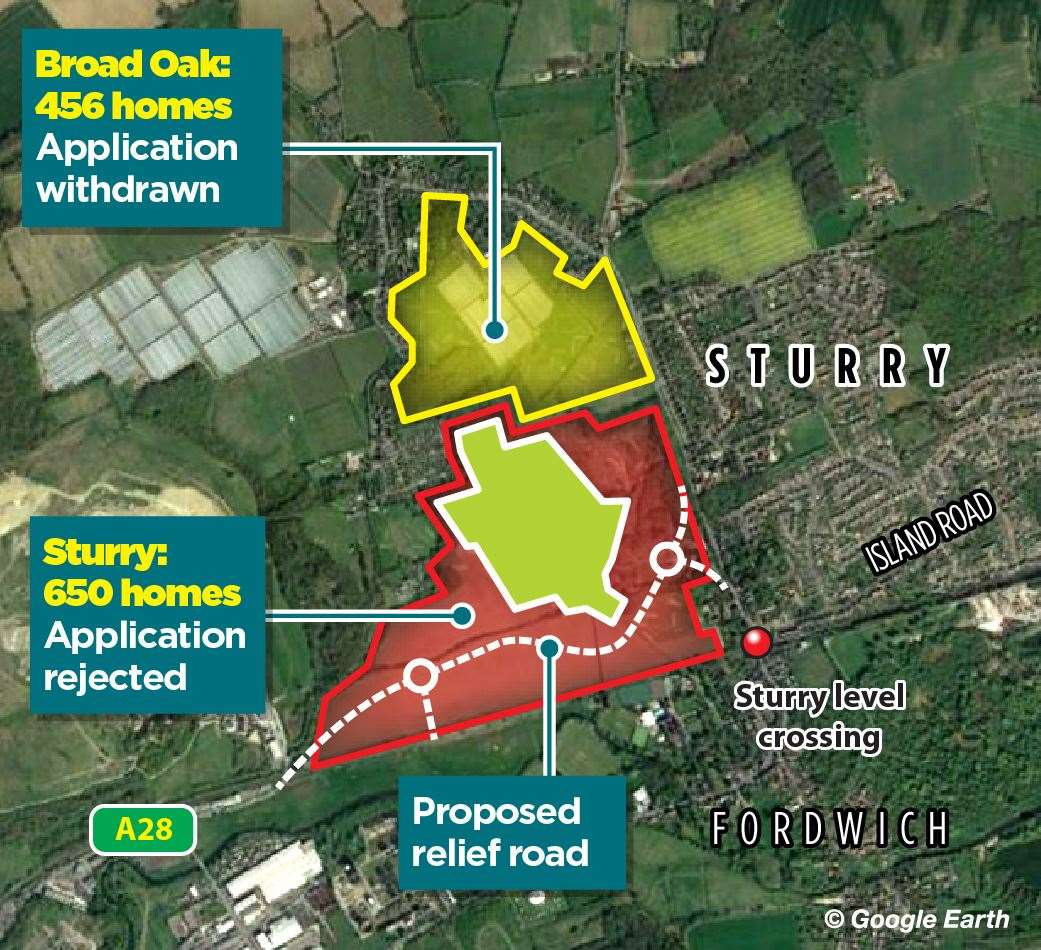 Key housing developments in Sturry and Broad Oak have been thrown into doubt (43178252)