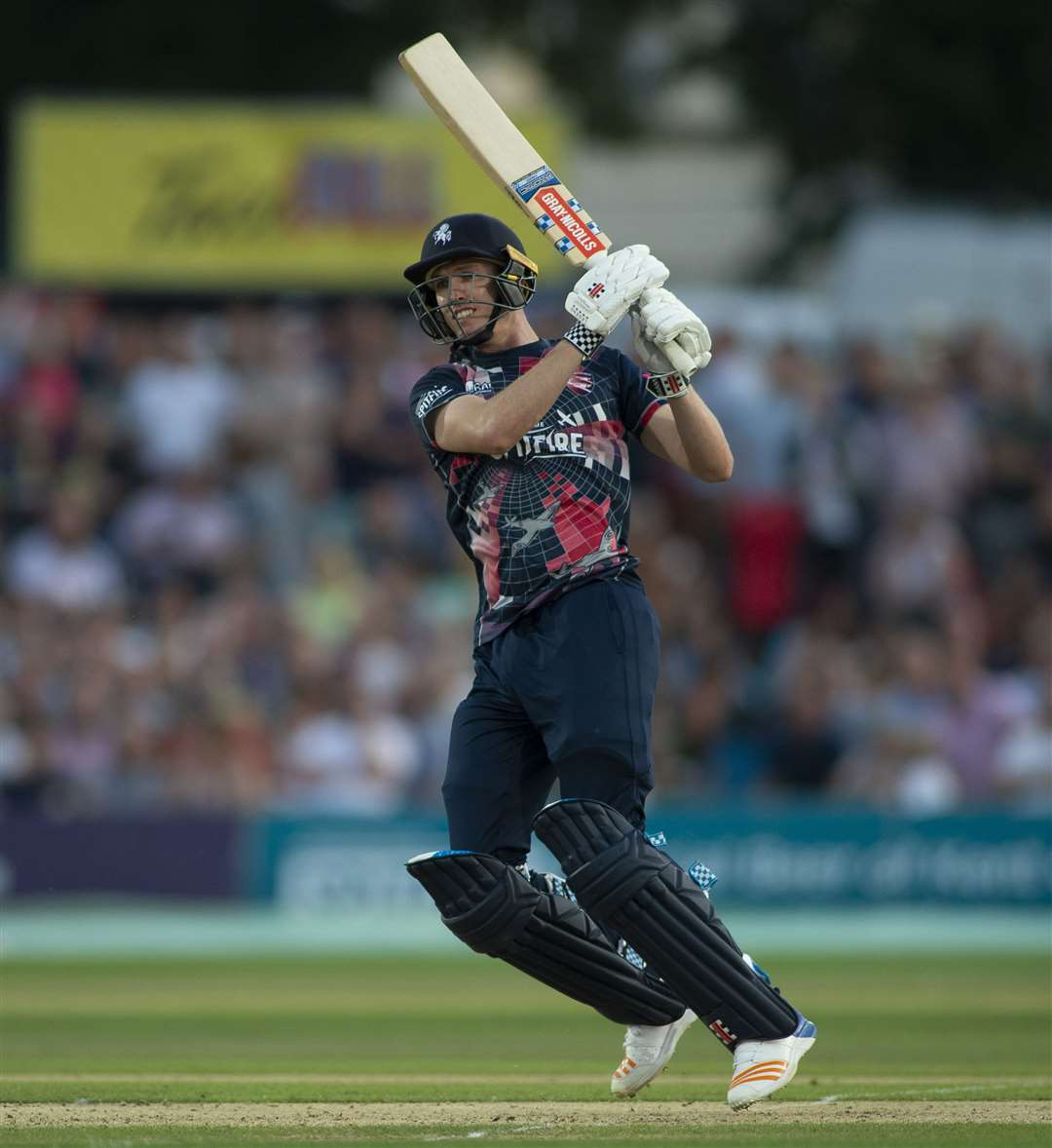 Adam Milne at the crease during Kent's T20 meeting with Essex. Picture: Ady Kerry