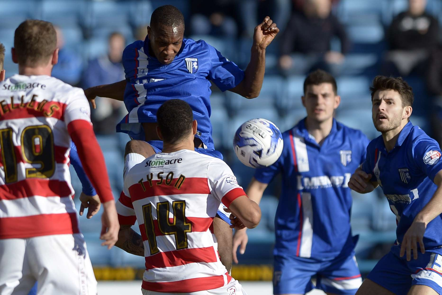 Gavin Hoyte gets stuck in during Saturday's stalemate Picture: Barry Goodwin