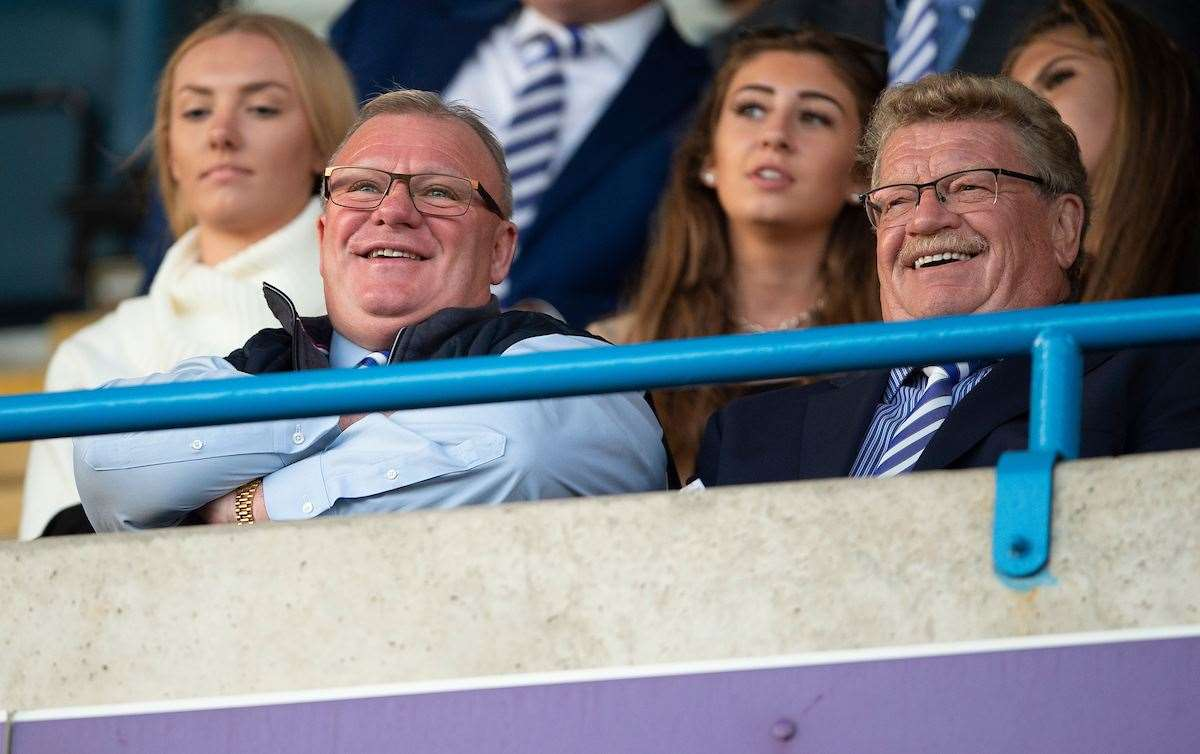 Steve Evans sat watching from the directors' box next to Bob Cogger, a friend of the club Picture: Ady Kerry (15215889)