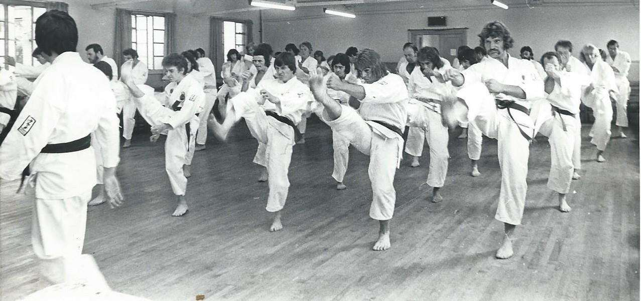 Sheppey Karate Club grading in the Conservative Hall in the 1970s