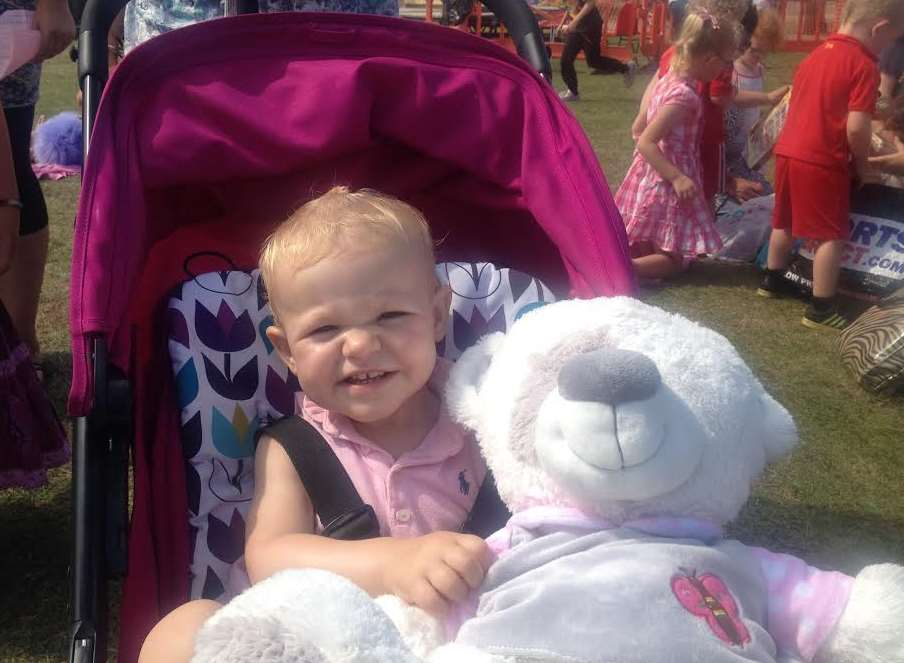 17-month-old India Rose Ketcher with her teddy