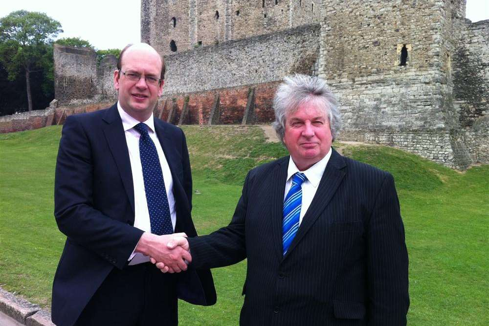 Michael Walters (right) with Rochester and Strood MP Mark Reckless. Mr Walters has defected to the Conservatives, having been the English Democrats' candidate in the Eastleigh byelection.