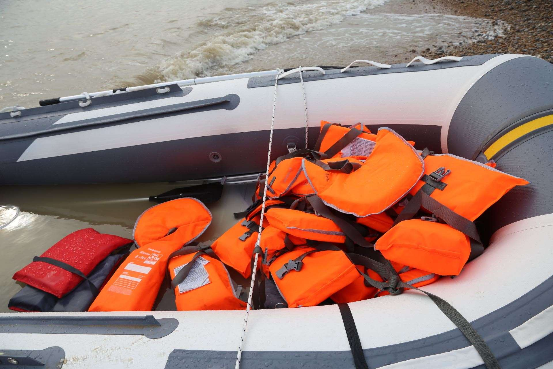 A dinghy recovered on the Marsh coast today. Picture: Susan Pilcher