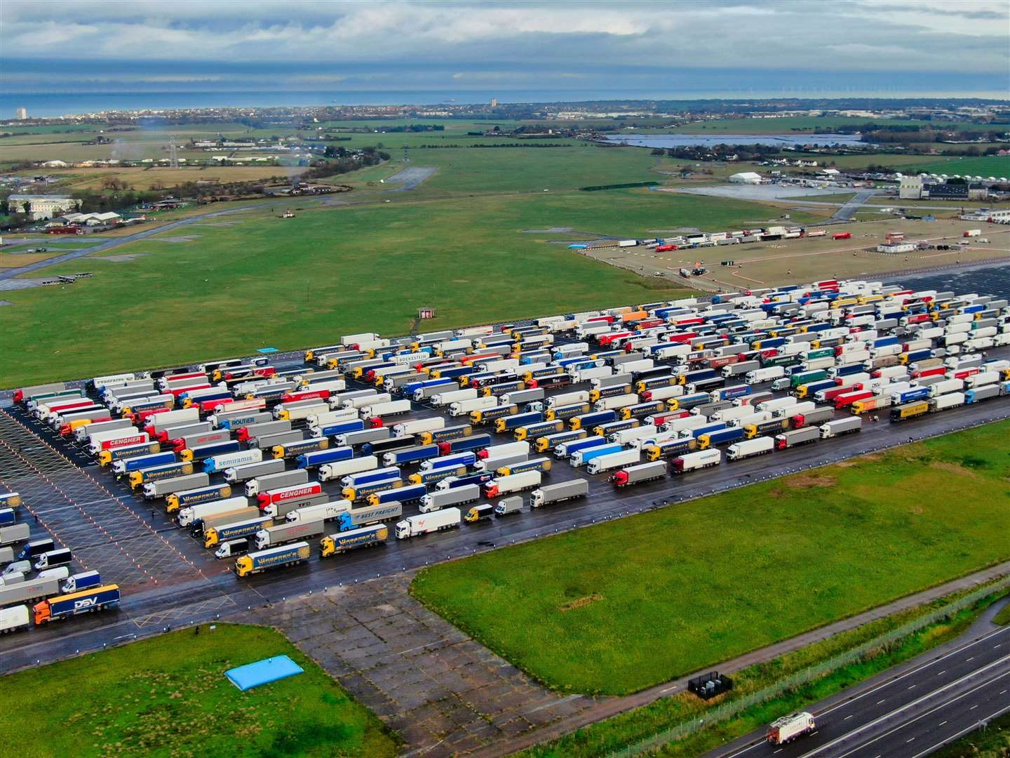 A huge number of lorries parked up on the runway last week. Picture: Swift Aerial Photography