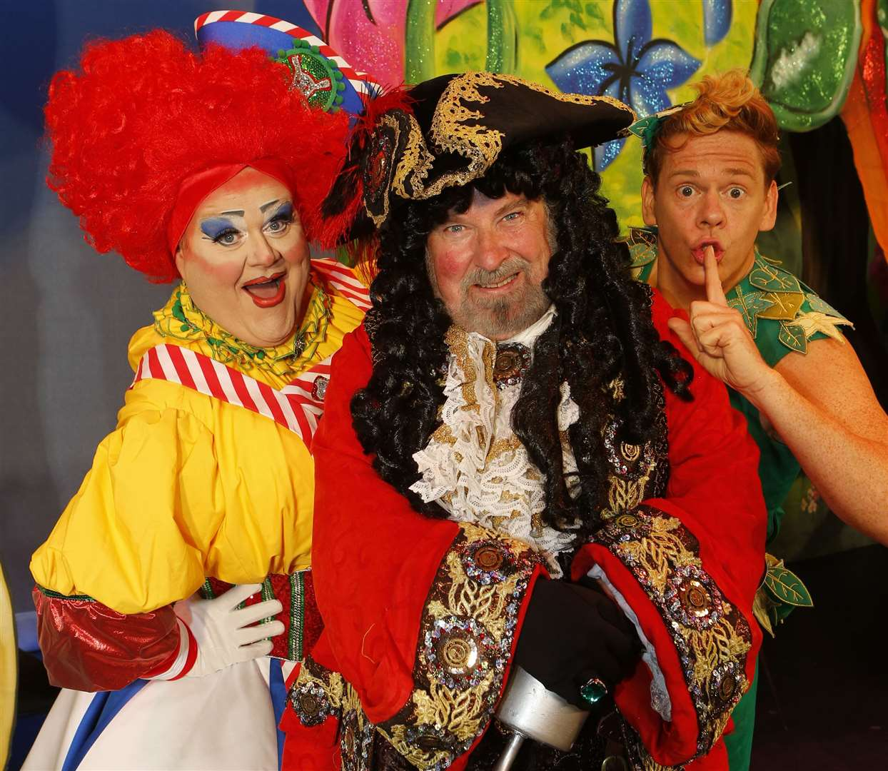 Quinn Patrick (Mrs Smee), Paul Bradley (Captain Hook) & Lloyd Warbey (Peter Pan) at the Assembly Hall Theatre, Tunbridge Wells Picture: Andy Jones