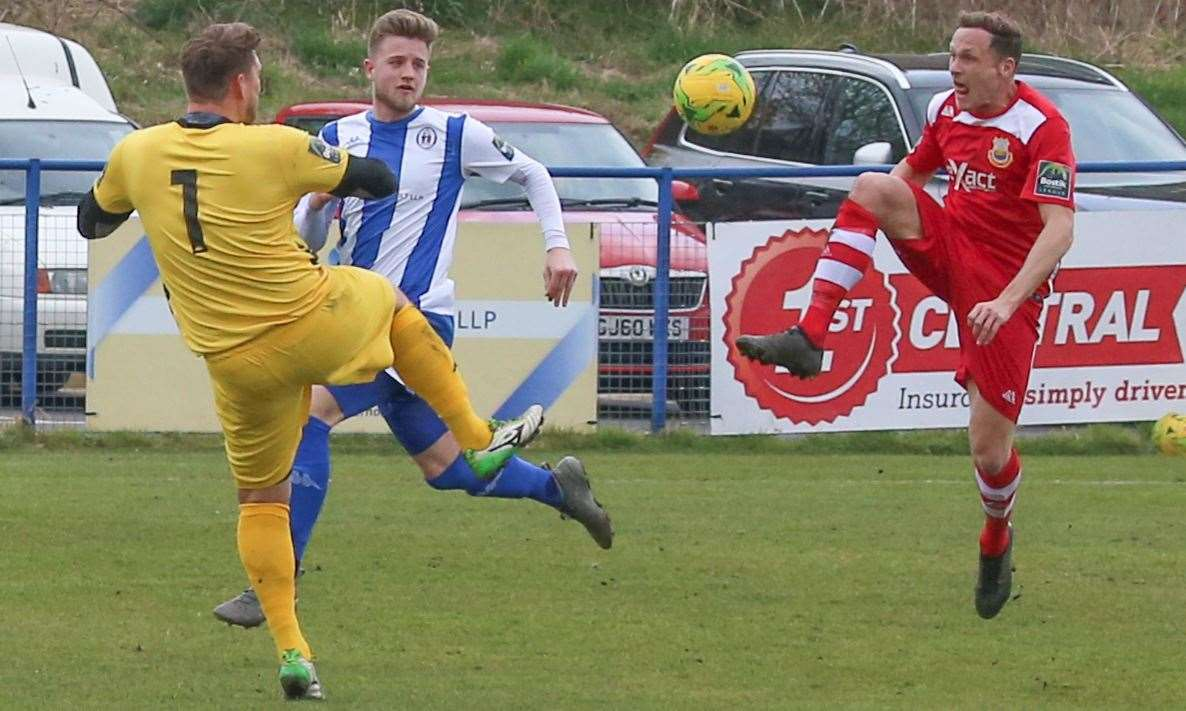 Whitstable's Ricky Freeman in action against Haywards Heath Picture: Les Biggs