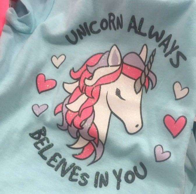 A unicorn top sold by Pep & Co has an obvious spelling mistake on the front