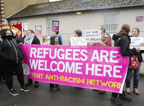 The left-wing protestors outnumbered the right by about three to one. Picture: Andy Jones