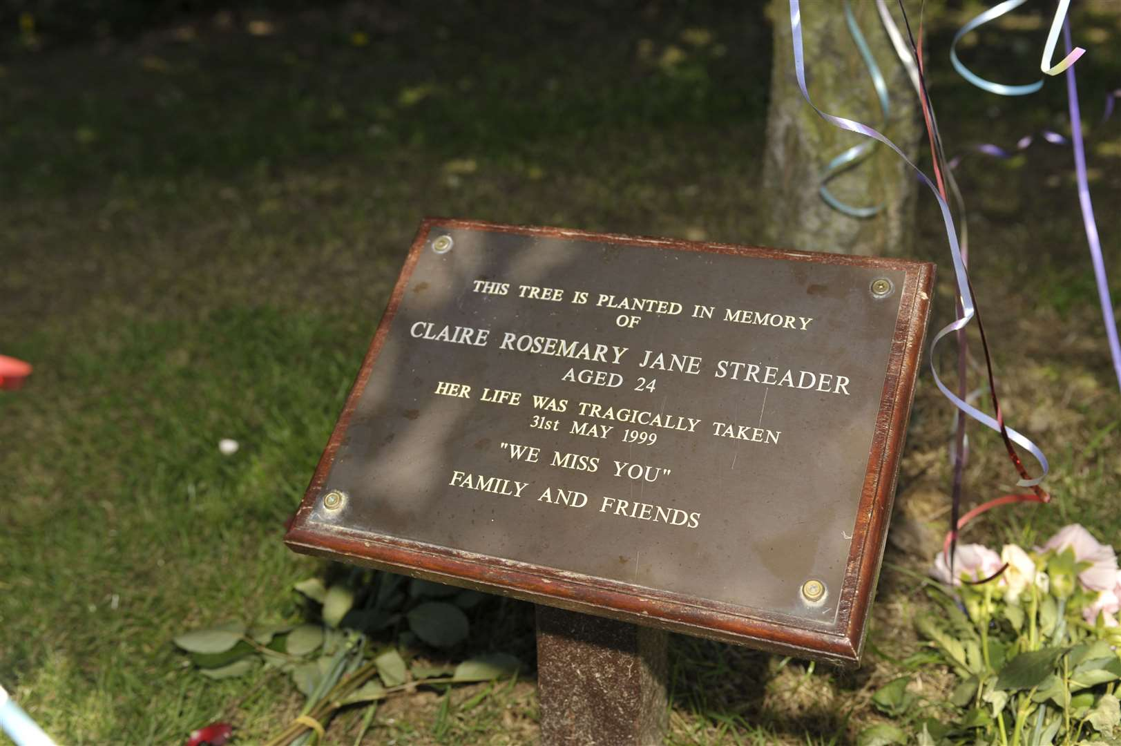A plaque in Claire Streader's memory in St Stephen's Park, Canterbury.