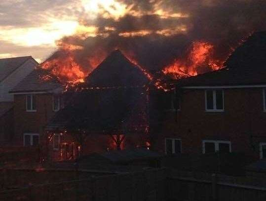 The devastating fire in Cornfield Row in Deal in April 2018 Picture: Bliss Wilson