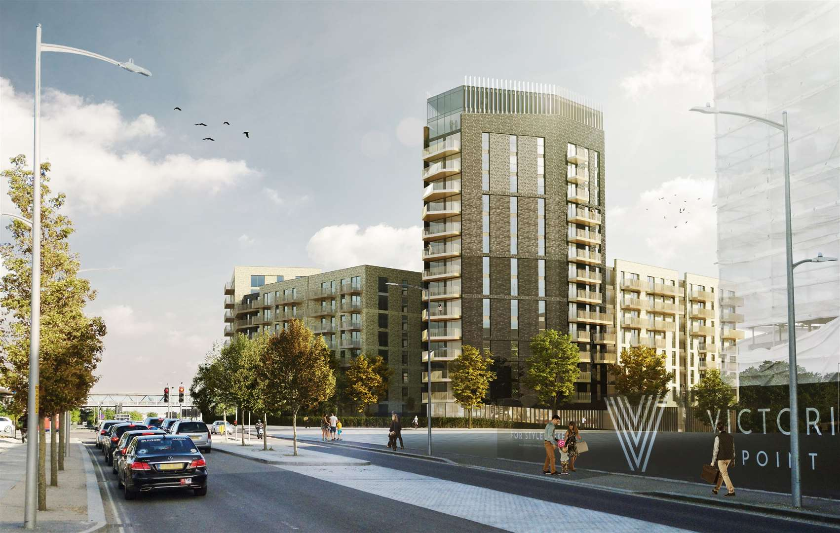 The 'Ashford Shard' tower block will go over 16 storeys - this view shows it from Victoria Road