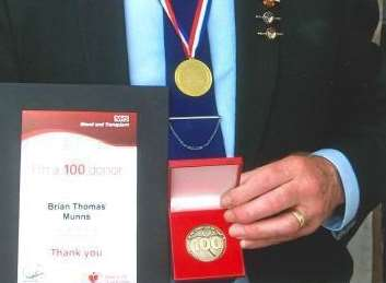Brian Munns, 70, from Halfway has been commended after donating blood 100 times