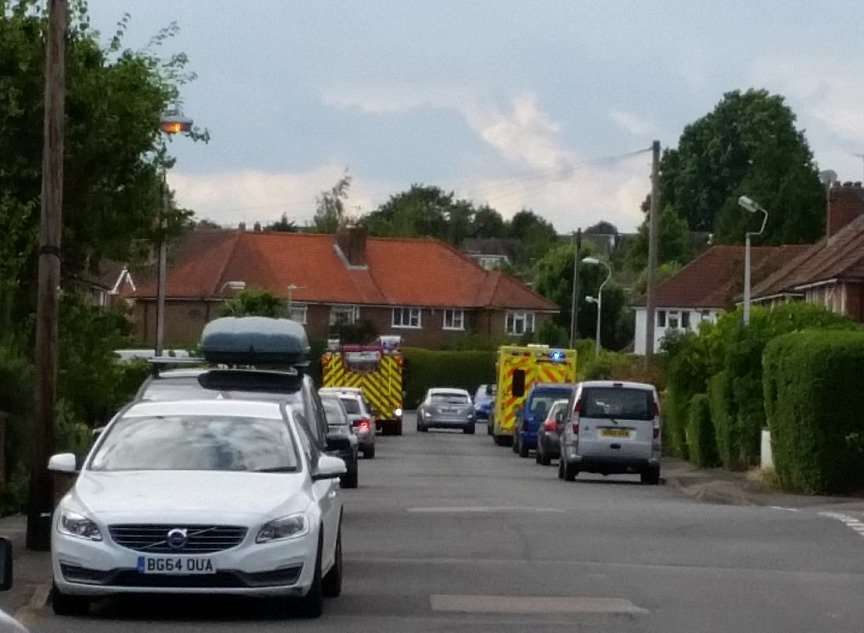 Emergency services attending the incident in Estridge Way earlier this month