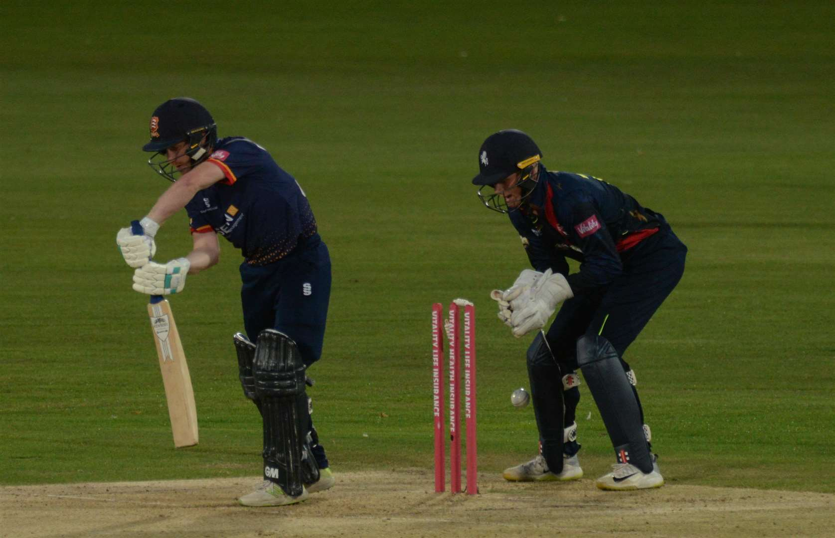 Kent Captain Sam Billings gets a close view of the dismissal of Essex Eagles opener Adam Wheater. Picture: Chris Davey.