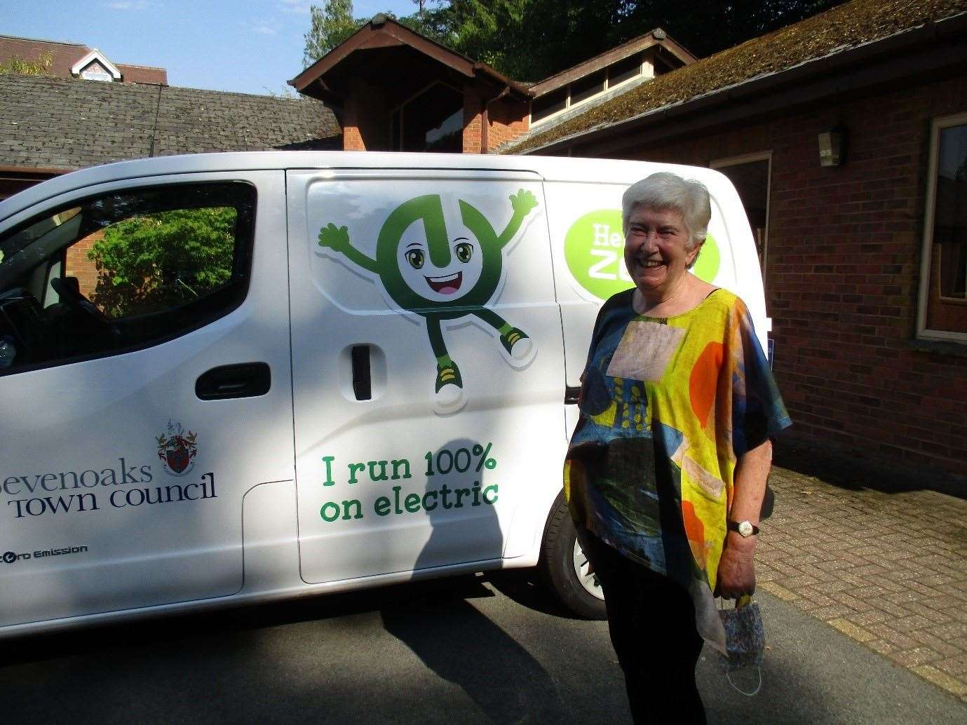 Cllr Merilyn Canet with the new electric van