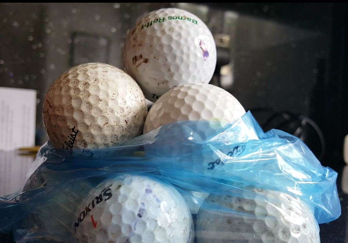 Some of the golf balls collected from the attacks