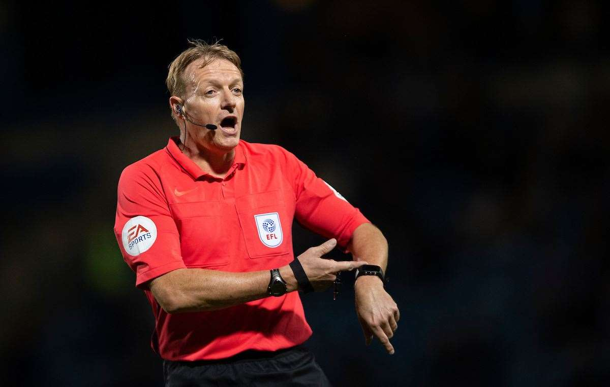 Referee Trevor Kettle awarded four penalties at Priestfield on Tuesday night Picture: Ady Kerry (15215887)