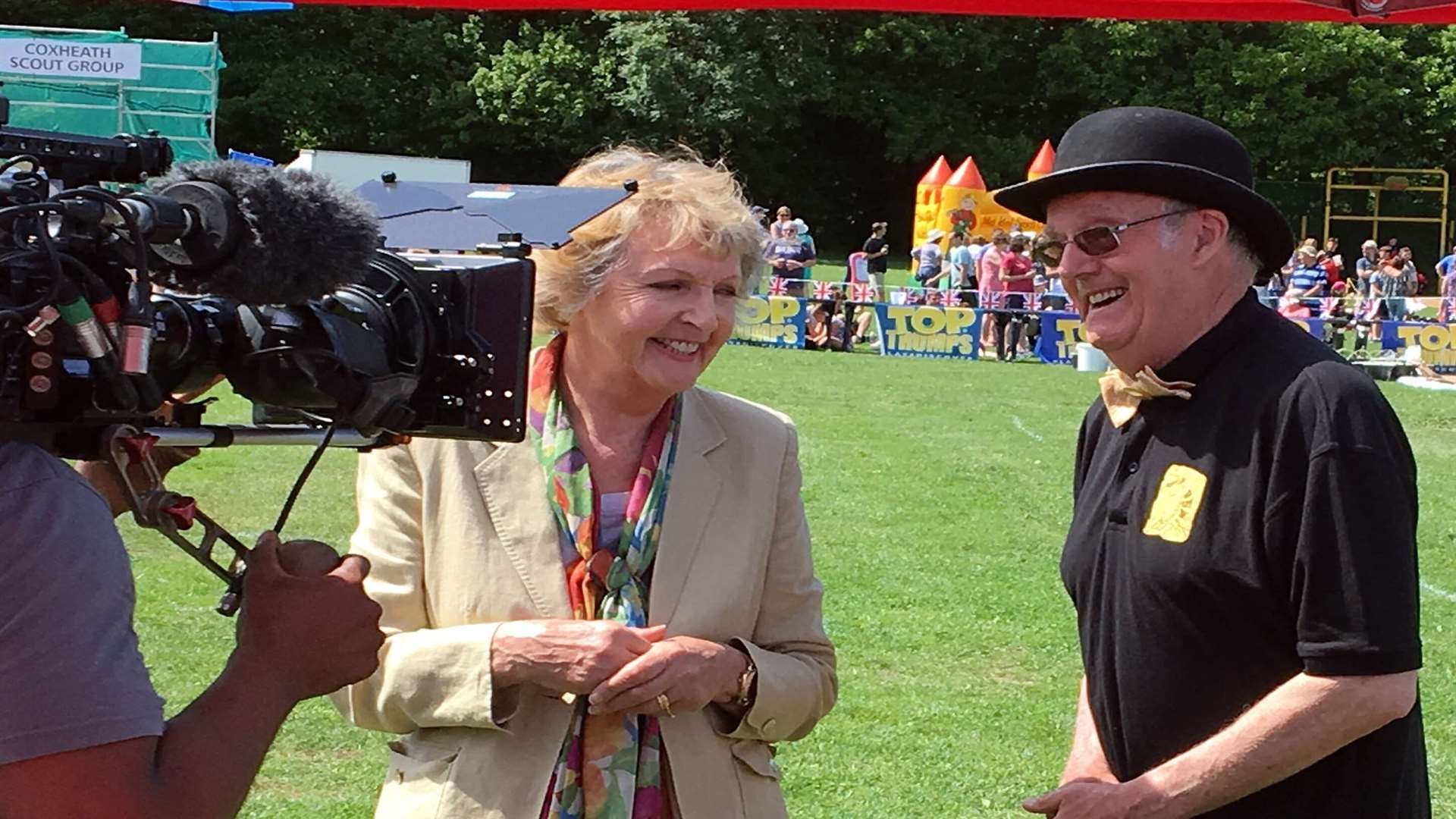 Penelope Keith filming in Coxheath with Custard Pie chairman Mike Fitzgerald