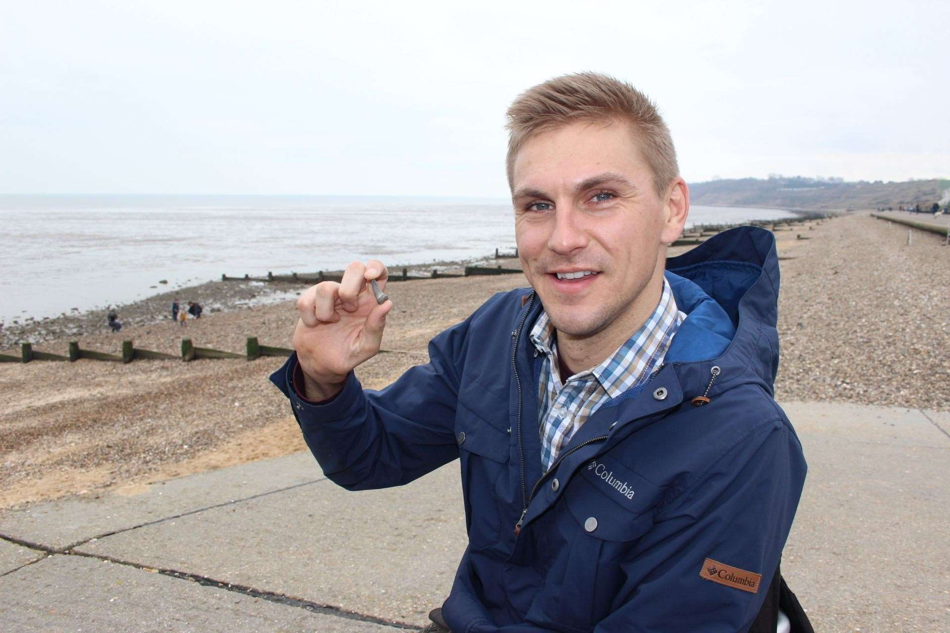 A shark's tooth: this is what TV presenter Steve Brown was hunting for on the beach at Minster, Sheppey for the BBC One programme Blue Planet UK (7820249)