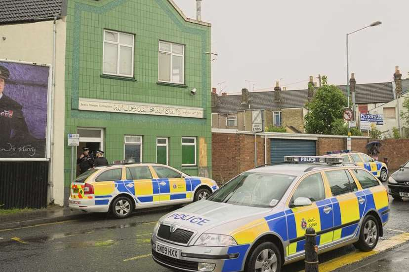 A high-profile police presence at Gillingham Mosque in the wake of the Woolwich murder