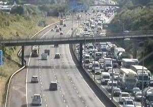 Congestion on the M25 heading clockwise near junction 3. Picture: Highways England