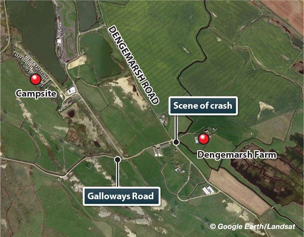 Map of the scene of the crash in Dengemarsh Road, Lydd (10739549)