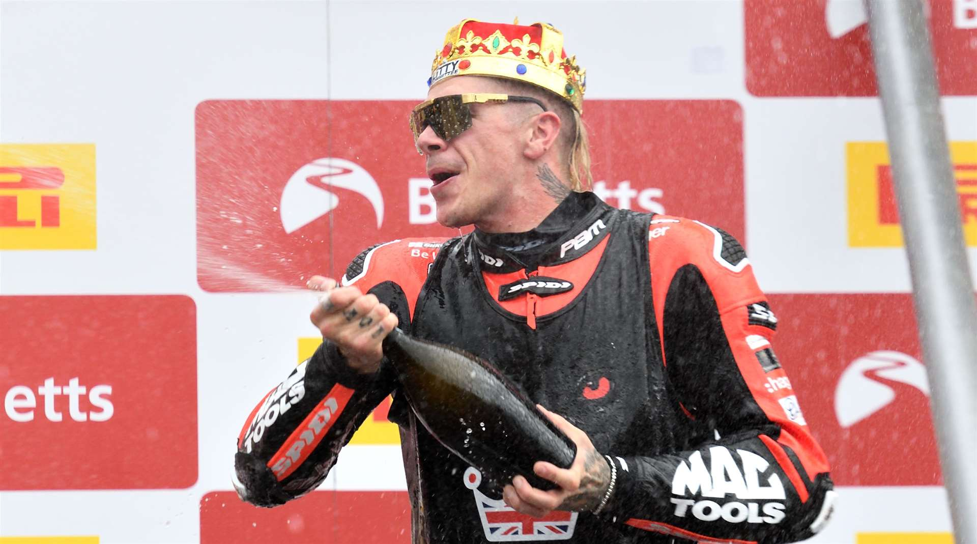 Scott Redding celebrates winning the BSB Championship. Picture: Simon Hildrew