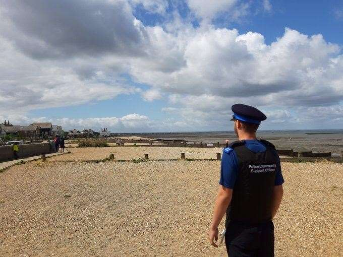 Officers patrolled the towns beaches. Pic: Kent Police