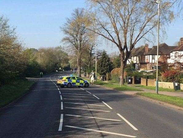Hadlow Road in Tonbridge was closed following the crash. Picture: Kent Police (8860072)
