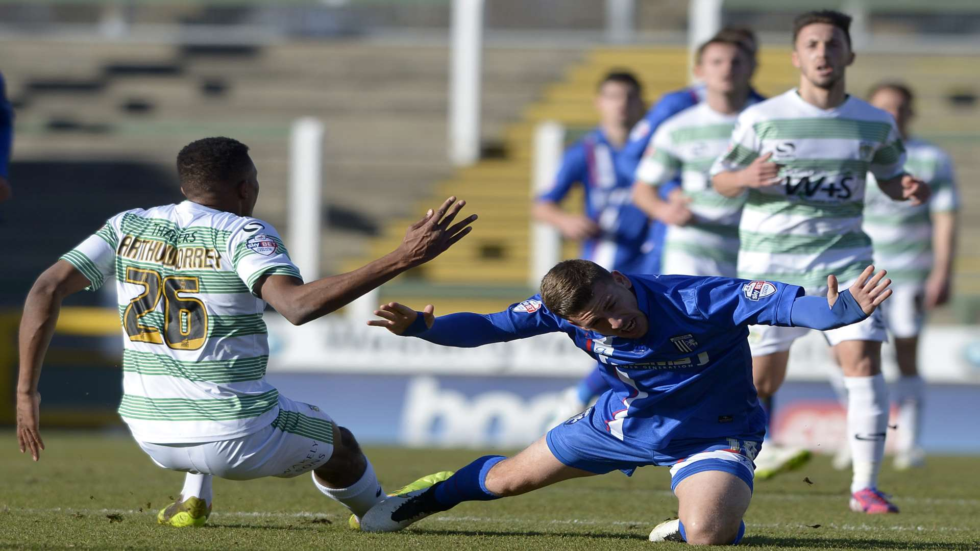 Cody McDonald takes a tumble during Gillingham's 2-2 draw with Yeovil Picture: Barry Goodwin