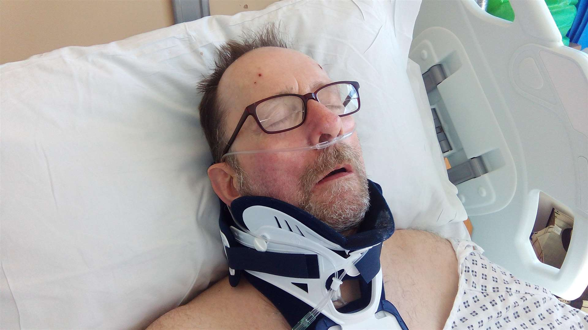 Doug Caddell in hospital following the level crossing accident